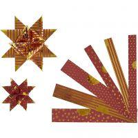 Bandes de papier étoiles, L: 44+78 cm, L: 15+25 mm, d: 6,5+11,5 cm, or, rouge, 48 bandes/ 1 Pq.