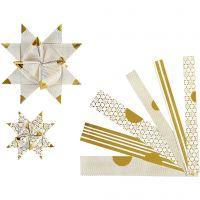Bandes de papier étoiles, L: 44+78 cm, L: 15+25 mm, d: 6,5+11,5 cm, or, blanc, 48 bandes/ 1 Pq.