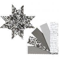 Bandes de papier étoiles, L: 100 cm, d: 18 cm, L: 40 mm, noir, blanc, 40 bandes/ 1 Pq.