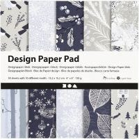 Bloc de papier design, 15,2x15,2 cm, 120 gr, bleu, gris, 50 flles/ 1 Pq.