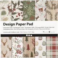 Bloc de papier design, 15,2x15,2 cm, 120 gr, brun, rouge, 50 flles/ 1 Pq.