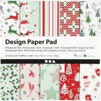 Bloc de papier design, 15,2x15,2 cm, 120 gr, vert, rouge, blanc, 50 flles/ 1 Pq.