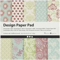 Bloc de papier design, 15,2x15,2 cm, 120 gr, vert menthe, violet, 50 flles/ 1 Pq.