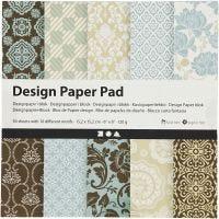 Bloc de papier design, 15,2x15,2 cm, 120 gr, bleu clair, brun, 50 flles/ 1 Pq.