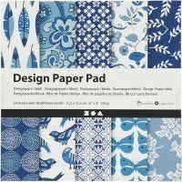Bloc de papier design, 15,2x15,2 cm, 120 gr, bleu, 50 flles/ 1 Pq.