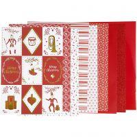 Bloc de papier design, dim. 21x30 cm, 120+128 gr, rouge, blanc, 24 flles/ 1 Pq.
