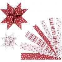 Bandes de papier étoiles, L: 44+78 cm, d: 6,5+11,5 cm, L: 15+25 mm, rouge, blanc, 60 bandes/ 1 Pq.
