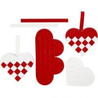 Coeurs tressés, dim. 13,5x12,5 cm, rouge, blanc, 8 set/ 1 Pq.
