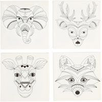 Toile avec impression, animaux, dim. 20x20 cm, 280 gr, blanc, 4 pièce/ 1 Pq.