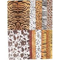 Papier cartonné à motifs animaux, A4, 210x297 mm, 300 gr, 100 flles/ 1 Pq.