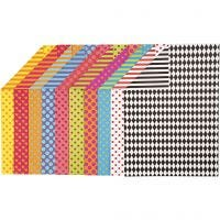 Papier cartonné à motifs, A4, 210x297 mm, 250 gr, couleurs assorties, 20 flles ass./ 1 Pq.