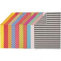 Papier cartonné à motifs, A4, 210x297 mm, 250 gr, couleurs assorties, 200 flles ass./ 1 Pq.