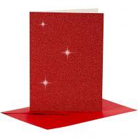 Cartes et enveloppes, dimension carte 10,5x15 cm, dimension enveloppes 11,5x16,5 cm, paillettes, 110+250 gr, rouge, 4 set/ 1 Pq.
