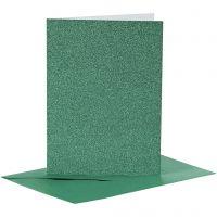 Cartes et enveloppes, dimension carte 10,5x15 cm, dimension enveloppes 11,5x16,5 cm, paillettes, 110+250 gr, vert, 4 set/ 1 Pq.