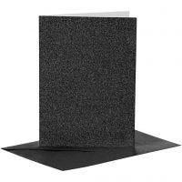 Cartes et enveloppes, dimension carte 10,5x15 cm, dimension enveloppes 11,5x16,5 cm, paillettes, 110+250 gr, noir, 4 set/ 1 Pq.