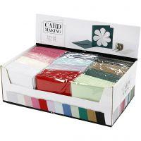 Cartes et enveloppes, dimension carte 15,2x15,2 cm, dimension enveloppes 16x16 cm, 230 gr, couleurs assorties, 12x10 Pq./ 1 Pq.