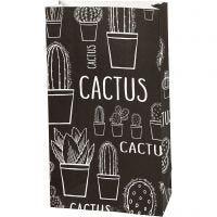 Sac en papier, Cactus, H: 21 cm, dim. 6x12 cm, 80 gr, 10 pièce/ 1 Pq.