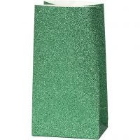 Sac en papier, H: 17 cm, dim. 6x9 cm, 150 gr, vert, 8 pièce/ 1 Pq.