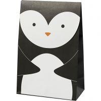 Sac en papier, pingouin, H: 18 cm, dim. 6x12 cm, 80 gr, noir/blanc, 6 pièce/ 1 Pq.