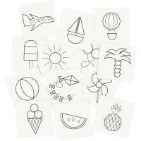 Cartes pour jeu de mémoire, dim. 7x7 cm, 400 gr, blanc, 1 set