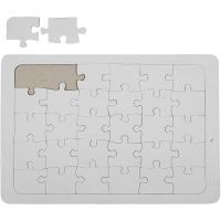 Puzzles à décorer, dim. 21x30 cm, blanc, 1 pièce
