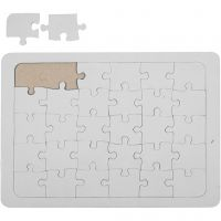 Puzzles à décorer, dim. 15x21 cm, blanc, 1 pièce