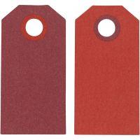 Etiquette, dim. 6x3 cm, 250 gr, rouge vin/rouge, 20 pièce/ 1 Pq.