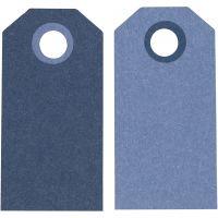 Etiquette, dim. 6x3 cm, 250 gr, bleu foncé/bleu clair, 20 pièce/ 1 Pq.