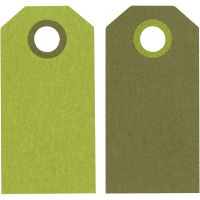 Etiquette, dim. 6x3 cm, 250 gr, citron vert/vert foncé, 20 pièce/ 1 Pq.