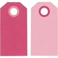 Etiquette, dim. 6x3 cm, 250 gr, rose, 20 pièce/ 1 Pq.