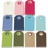 Etiquettes cadeaux colorées, dim. 6x3 cm, Le contenu peut varier , couleurs assorties, 200 ass./ 1 Pq.