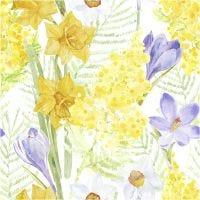 Serviettes de table, fleurs de printemps, dim. 33x33 cm, 20 pièce/ 1 Pq.