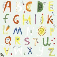 Serviettes de table, L'alphabet, dim. 33x33 cm, 20 pièce/ 1 Pq.