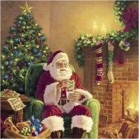 Serviettes de table, Le père Noël à la maison, dim. 33x33 cm, 20 pièce/ 1 Pq.