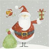Serviettes de table, Le père Noël et son sac de cadeaux, dim. 33x33 cm, 20 pièce/ 1 Pq.
