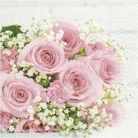 Serviettes de table, Bouquet de mariage, dim. 33x33 cm, 20 pièce/ 1 Pq.