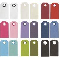 Étiquettes cadeaux, dim. 6x3 cm, 250 gr, couleurs assorties, 30 Pq./ 1 Pq.