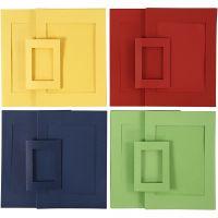 Cartes passe-partout, dim. A4+A6 , bleu, vert, rouge, jaune, 2x60 pièce/ 1 Pq.