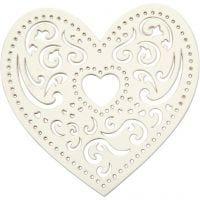 Coeur dentelle, L: 7,5 cm, 250 gr, blanc, 18 pièce/ 1 Pq.