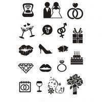 Tampons transparents, mariage, 11x15,5 cm, 1 flles