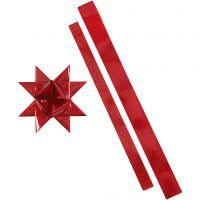 Bandes de papier étoiles, L: 86+100 cm, L: 25+40 mm, d: 11,5+18,5 cm, rouge, glitter rouge, 16 bandes/ 1 Pq.