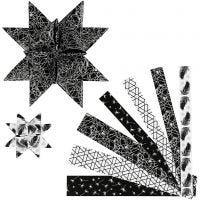 Bandes de papier étoiles, L: 44+78 cm, L: 15+25 mm, d: 6,5+11,5 cm, noir, argent, 48 bandes/ 1 Pq.