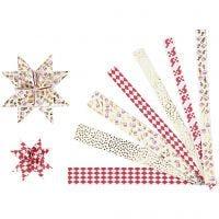 Bandes de papier étoiles, L: 44+78 cm, L: 15x25 mm, d: 6,5+11,5 cm, or, rouge, blanc, 48 bandes/ 1 Pq.