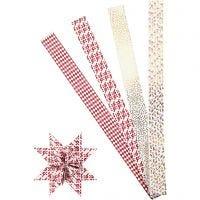 Bandes de papier étoiles, L: 100 cm, d: 18 cm, L: 40 mm, or, rouge, blanc, 40 bandes/ 1 Pq.