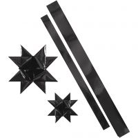 Bandes de papier étoiles, L: 86+100 cm, L: 25+40 mm, d: 11,5+18,5 cm, noir, 16 bandes/ 1 Pq.