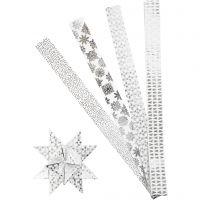 Bandes de papier étoiles, L: 100 cm, d: 18 cm, L: 40 mm, argent, blanc, 40 bandes/ 1 Pq.