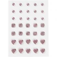 Pierres de strass, rond, carré, coeur, dim. 6+8+10 mm, rose, 35 pièce/ 1 Pq.