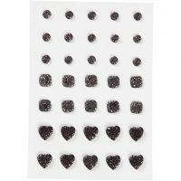 Pierres de strass, rond, carré, coeur, dim. 6+8+10 mm, noir, 35 pièce/ 1 Pq.