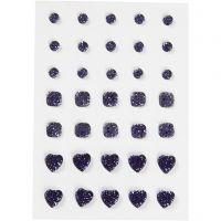 Pierres de strass, rond, carré, coeur, dim. 6+8+10 mm, bleu, 35 pièce/ 1 Pq.