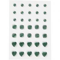 Pierres de strass, rond, carré, coeur, dim. 6+8+10 mm, vert, 35 pièce/ 1 Pq.